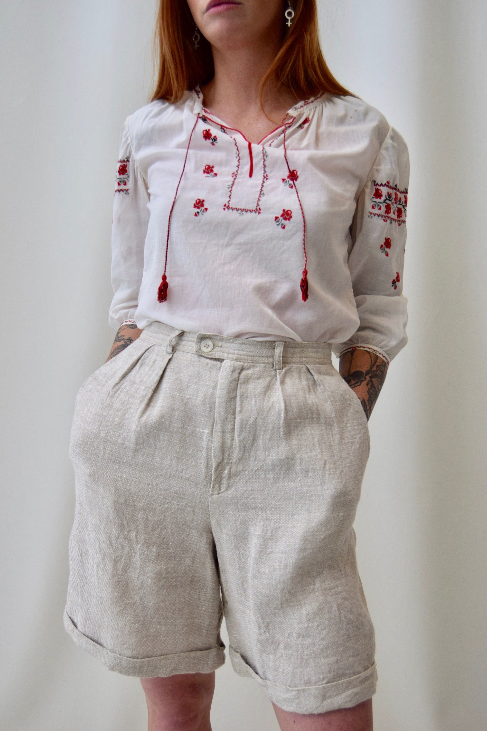 Vintage Eastern European Embroidered Rose Peasant Blouse