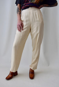 Ivory Raw Silk High Waisted Trousers