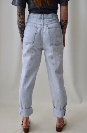 Embroidered Floral Light Wash Jeans