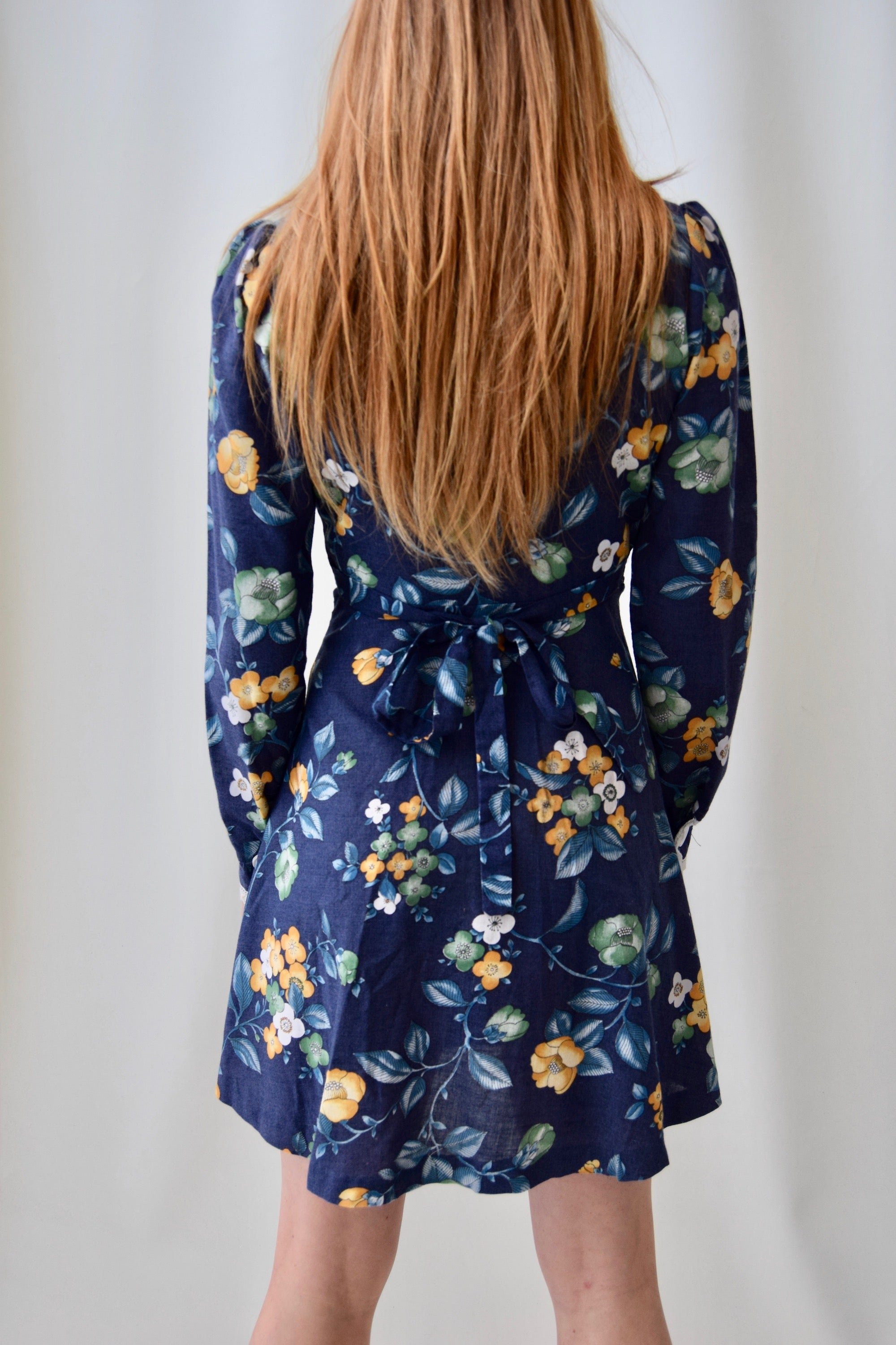 1970's Navy Floral Mini Dress
