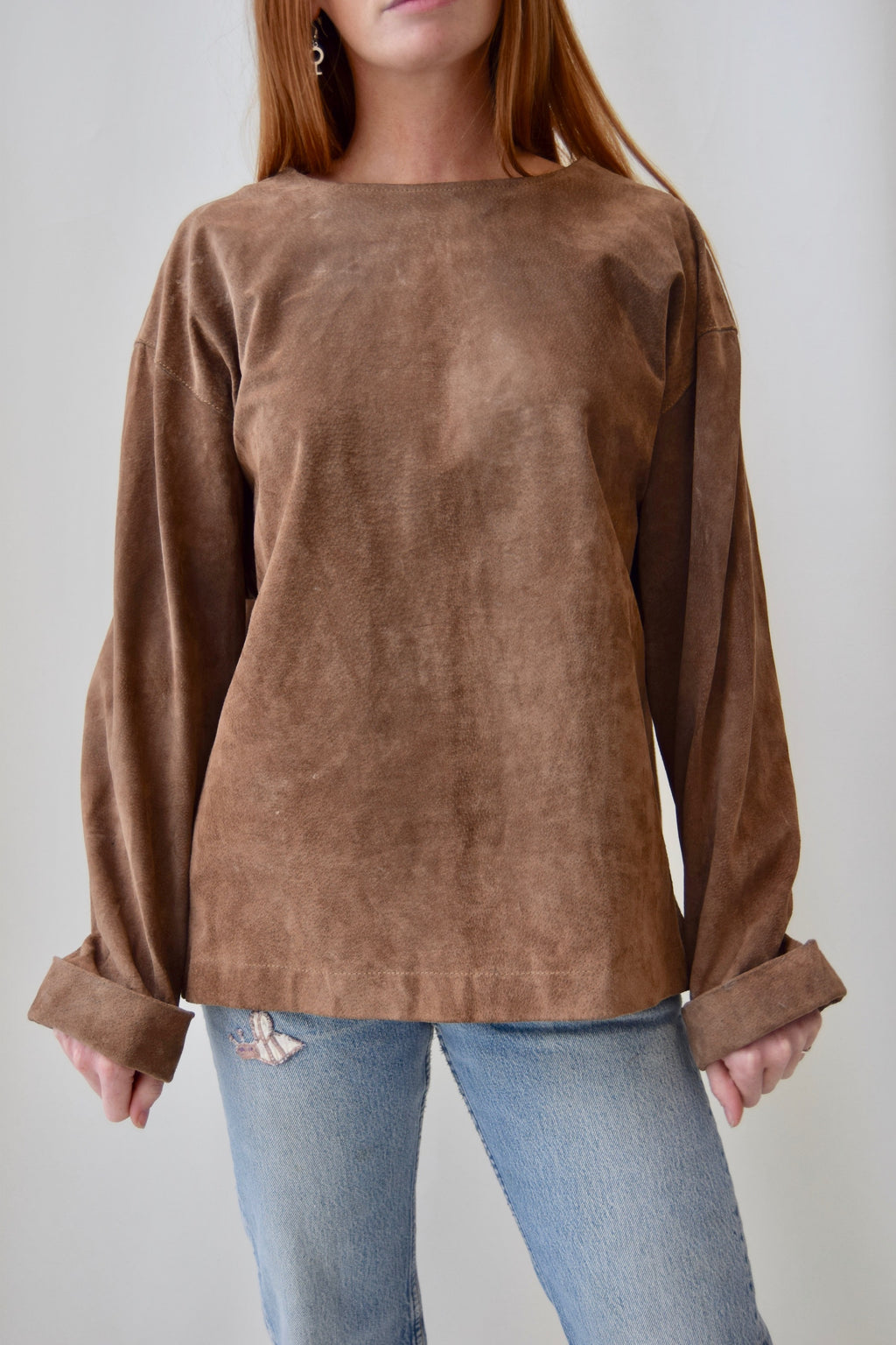 Brown Suede Pullover