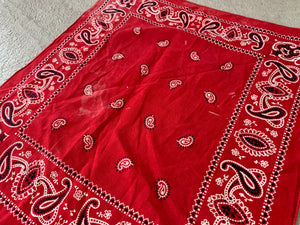 Vintage 40's Elephant Brand Trunk Down Red Paisley Bandana