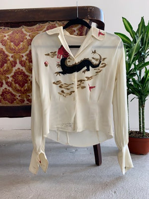 "1940's ""Art Originals of California"" Hand Painted Dragon Blouse"