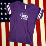 Women's 307 Buffalo Logo Striped V- Neck T-Shirt