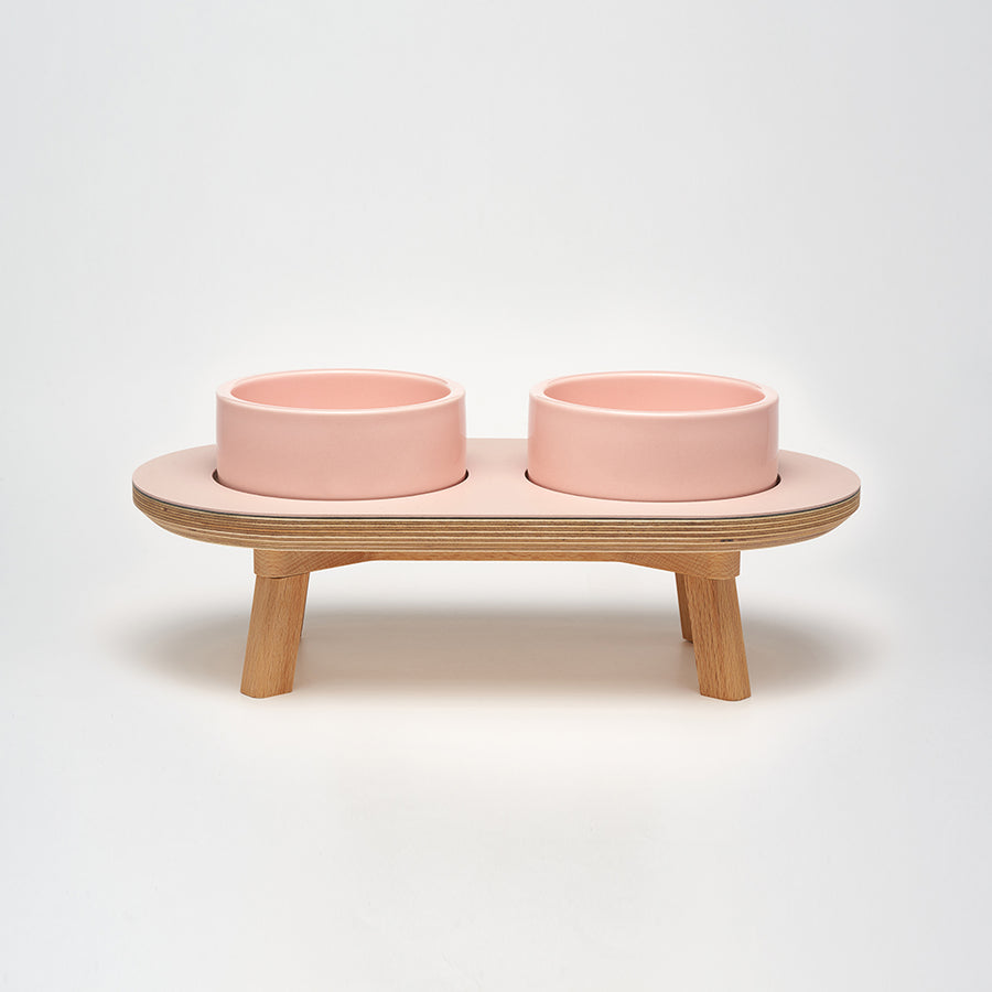 wood elevated dining set for the modern dog & cat