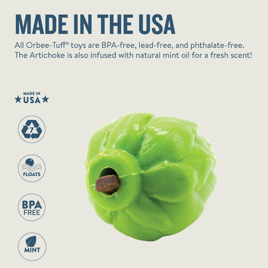 Orbee-Tuff Artichoke Green dog toy