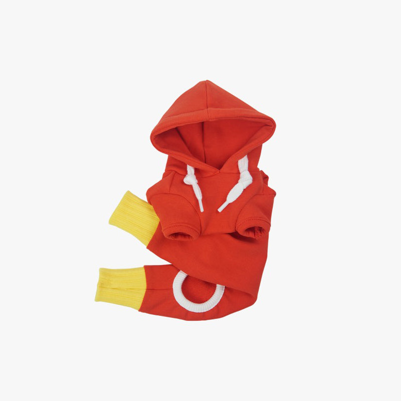 dog onesies in red and yellow
