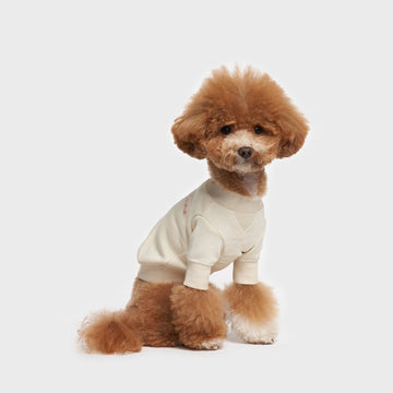 Crew Neck Dog Sweatshirt in Cream Color