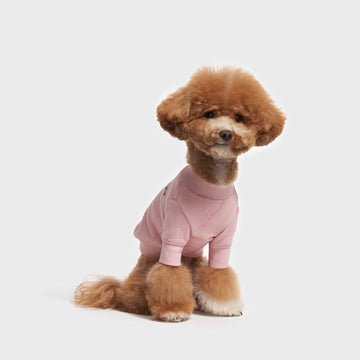 Crew Neck Dog Sweatshirt in Pink