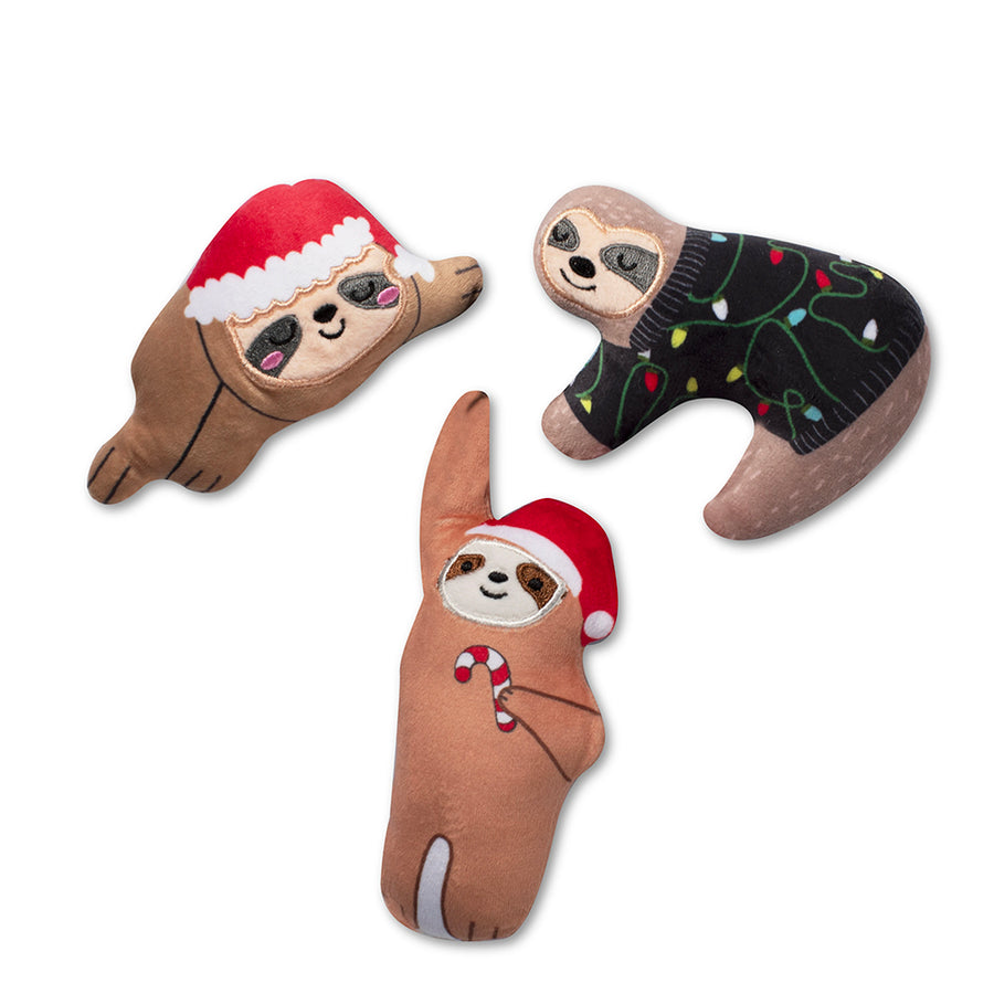 Christmas Sloths mini dog toy