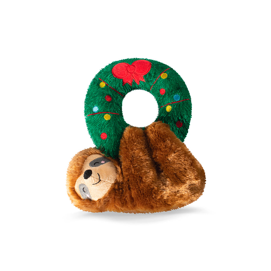 Sloth Hanging on Wreath dog toy