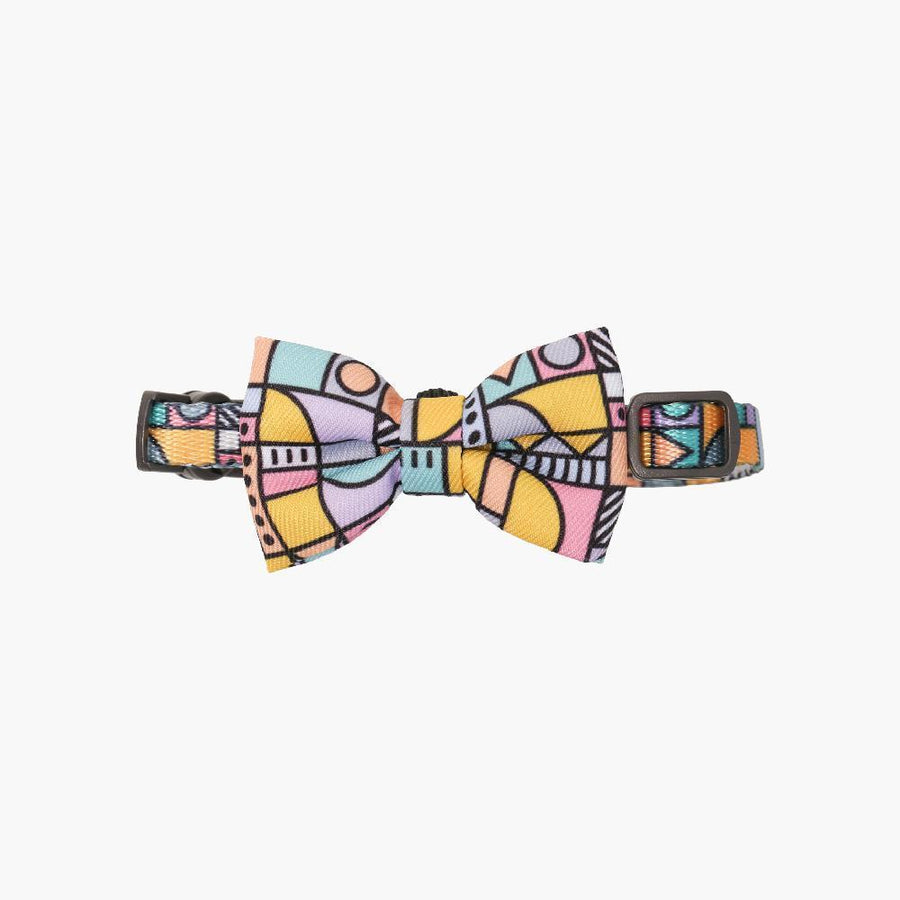 Pidan Cat Bow Tie Collar Abstract Grids
