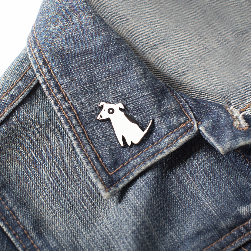Nosey Dog enamel pin by fringe studio