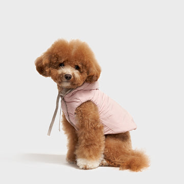 Reversible Dog Winter Puffer Vest in Oatmeal & Pale Pink