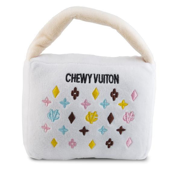 White Chewy Vuiton Handbag dog toy now on sale