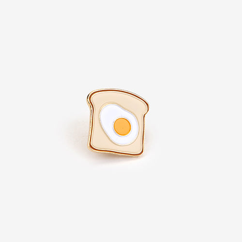 toast and egg 24k gold plated enamel pin
