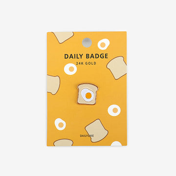 egg & toast 24k gold plated enamel pin