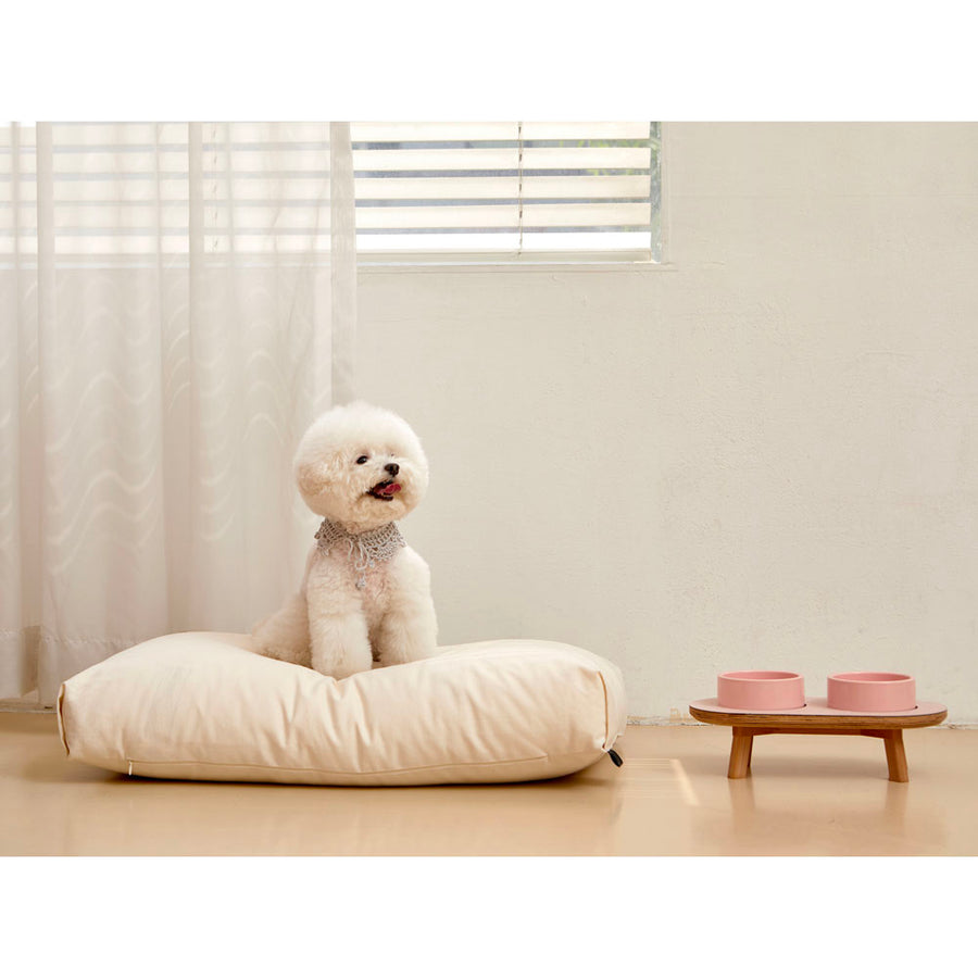 bichon frise on minimalist microfiber simple dog cushion