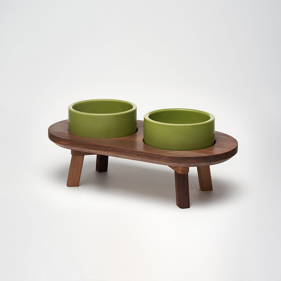 Walnut wood dining set for the dog & cat