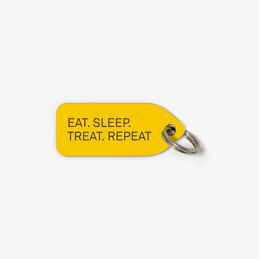 Eat. Sleep. Treat. Repeat. Dog Tag in Yellow