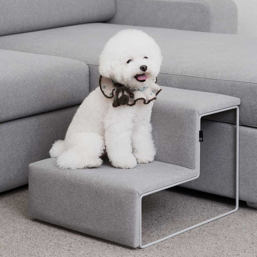 bichon frise on Smallstuff pet stairs in light gray