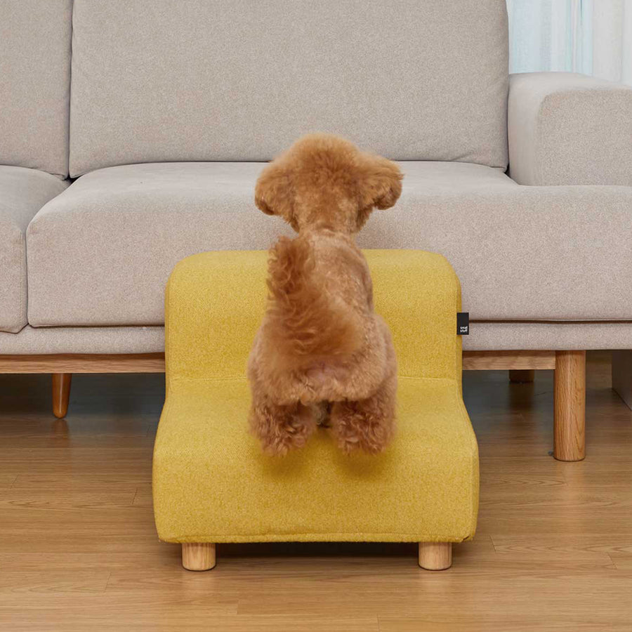 dog with minimalist pet stairs dog steps furniture