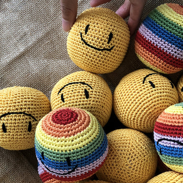 Dog Crochet ball smiley face