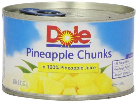 Dole Pineapple Chunks in Juice, 8 oz - www.inmatecarepackage.net
