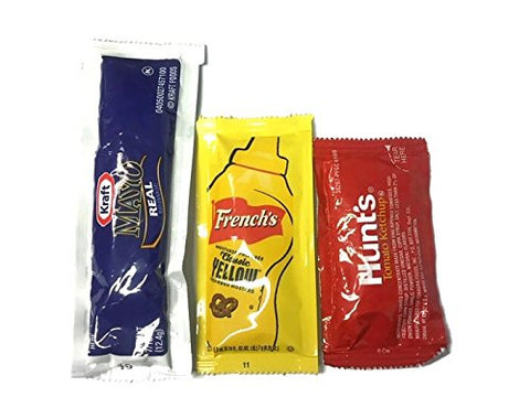 Mayo, Ketchup, & Mustard On-the-go Condiment Combo - 25 Packets of Each - Inmate Care Packages