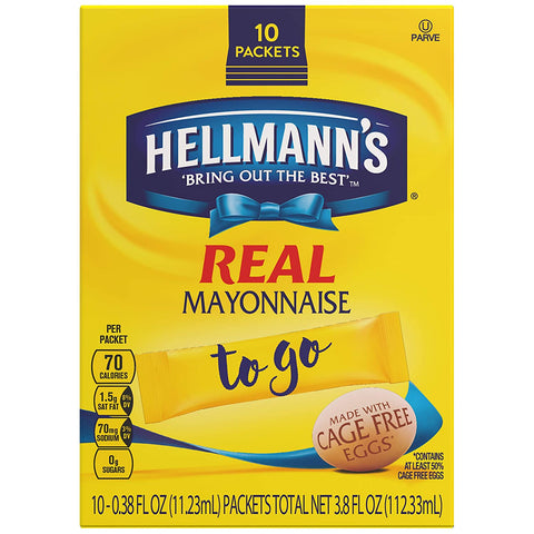 Hellmann's To Go Packets Real Mayonnaise, 3.8 Fl Oz, Pack of 60 - www.inmatecarepackage.net