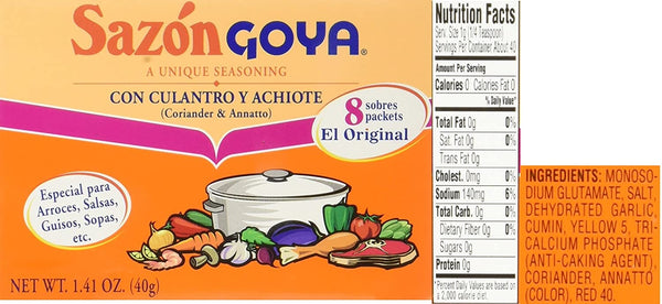 Sazon Goya Unique Seasoning Variety 4-Pack Bundle, Culantro Y Achiote (with Coriander & Annatto),Con Azafran, Coriander and Annatto, Sazon Without Annatto and Cilantro Y Tomate(Cilantro & Tomato) - Inmate Care Packages