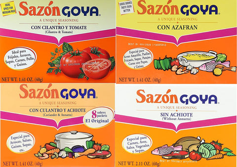Sazon Goya Unique Seasoning Variety 4-Pack Bundle, Culantro Y Achiote (with Coriander & Annatto),Con Azafran, Coriander and Annatto, Sazon Without Annatto and Cilantro Y Tomate(Cilantro & Tomato) - www.inmatecarepackage.net