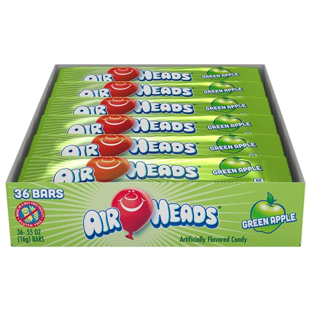 Airheads Green Apple, 36 Ct. 0.55 Oz. Bars - www.inmatecarepackage.net