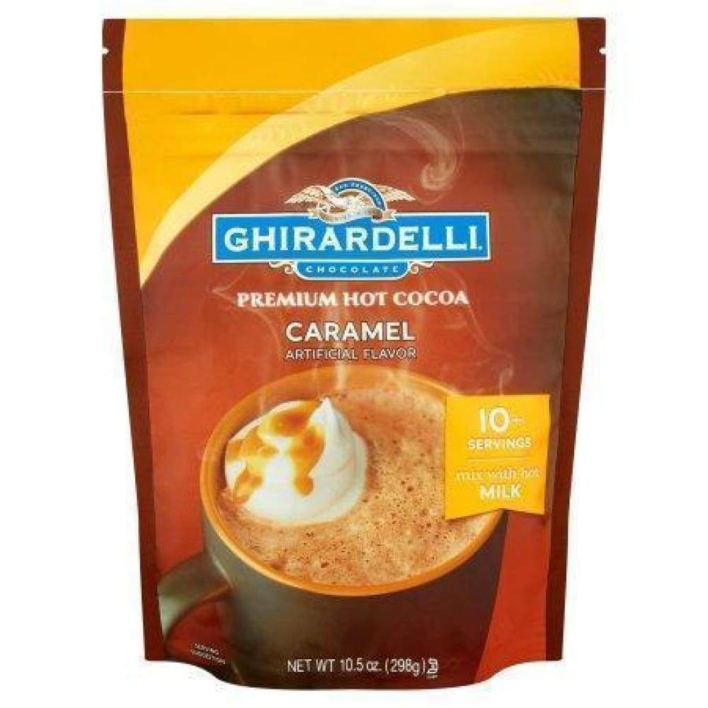Ghirardelli Caramel Hot Chocolate Pouch 10.5 Oz Pouch - www.inmatecarepackage.net