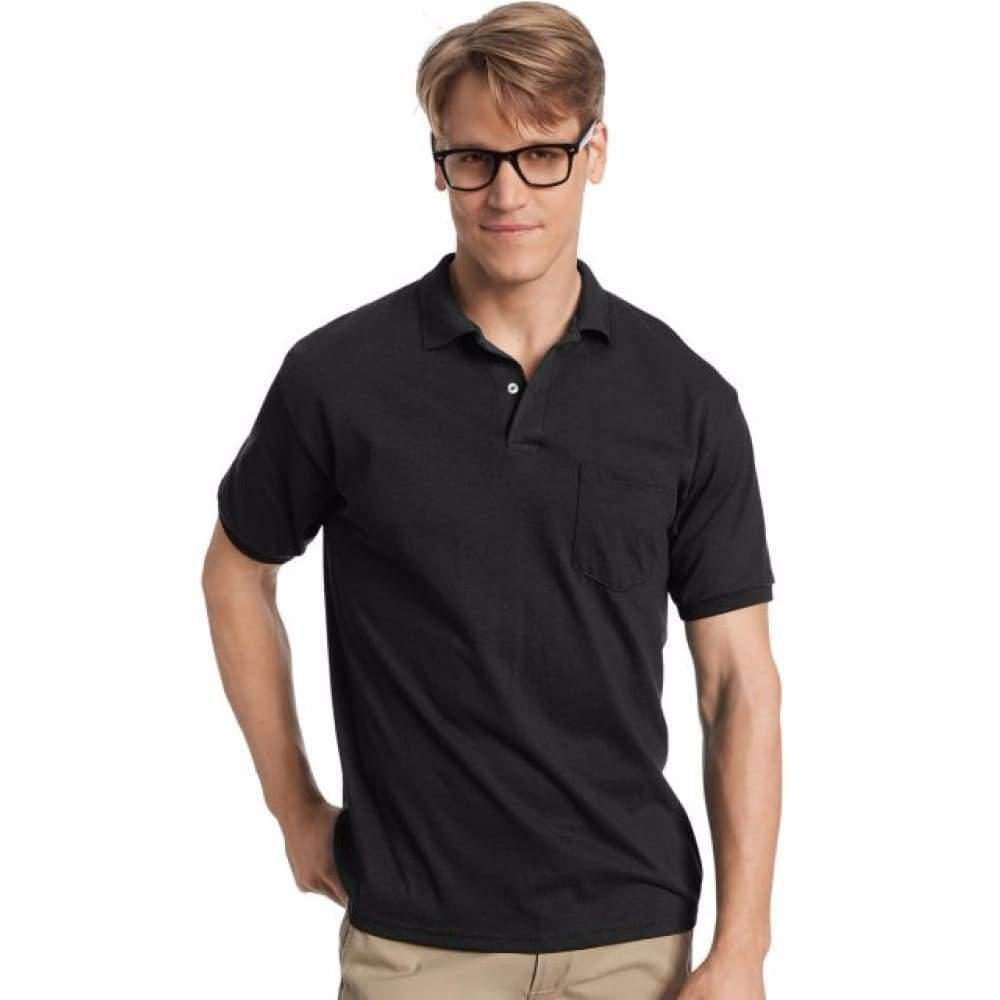 Hanes Men's Cotton-Blend Ecosmart® Jersey Polo With Pocket - www.inmatecarepackage.net