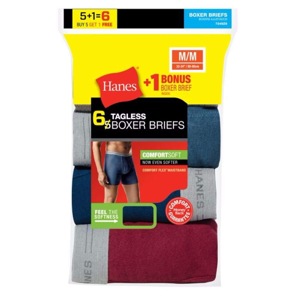 Hanes Men's Tagless Boxer Brief With Comfort Flex® Waistband 6-Pack (Includes 1 Free Bonus Boxer Brief) - Inmate Care Packages