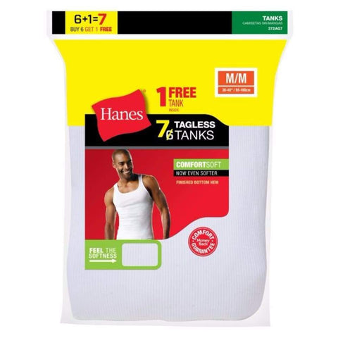 Hanes Men's Tagless® Comfortsoft® A-Shirt 7-Pack (Includes 1 Free Bonus A-Shirt) - www.inmatecarepackage.net