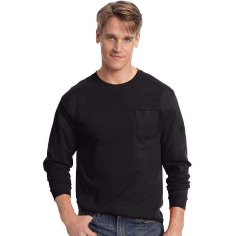 Hanes Men's Tagless® Long-Sleeve T-Shirt With Pocket - www.inmatecarepackage.net