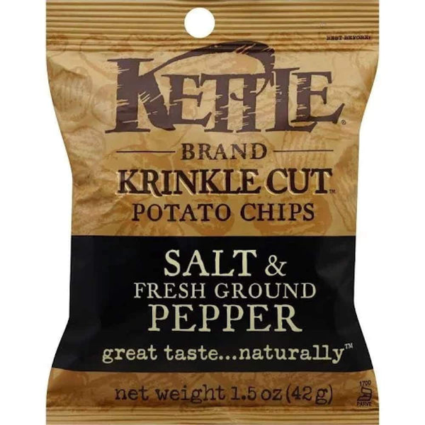 Kettle Krinkle Potato Chip Salt & Pepper 1.5Oz - www.inmatecarepackage.net