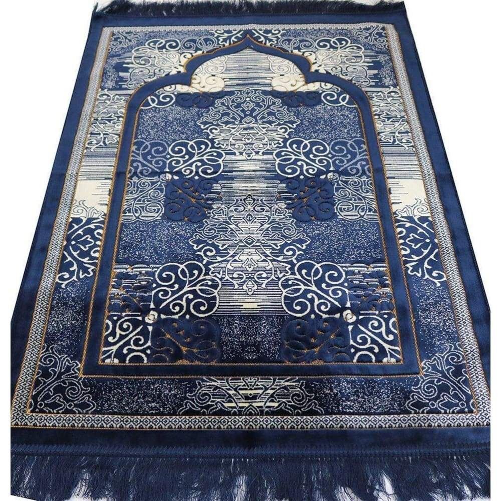 Muslim Prayer Rug - Islamic Plush Velvet Turkish Carpet Janamaz Sajadah FREE Prayer Cap Elegant Swirl (Blue) - www.inmatecarepackage.net