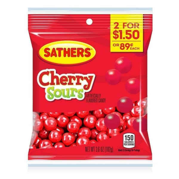 Sathers Cherry Sours, 3.6 Oz. - www.inmatecarepackage.net
