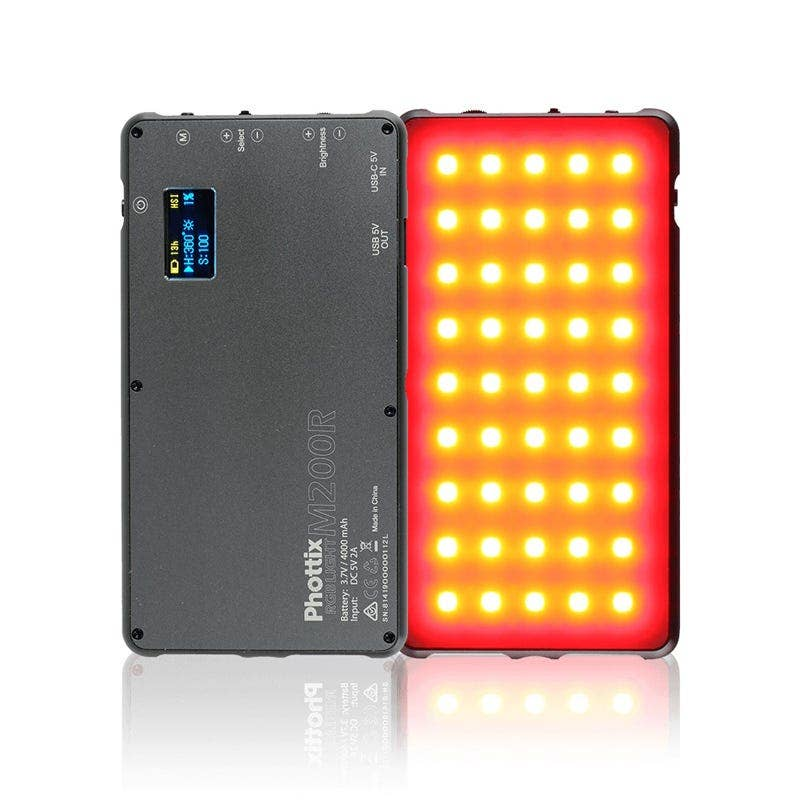 Phottix M200RGB Pocket LED Light - Doubles as a Power Bank for Mobile Phones
