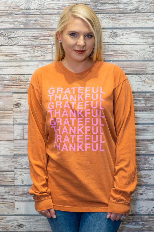 Grateful Thankful (Comfort Colors) Long Sleeve by The Light Blonde
