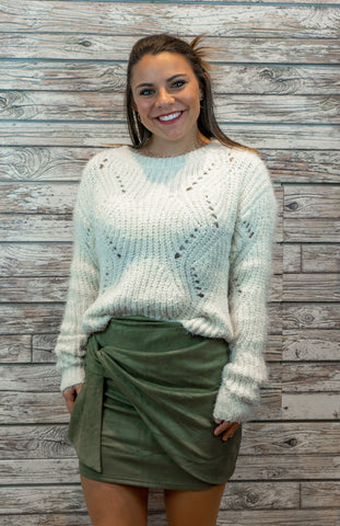 Scallop Hem Crop Sweater