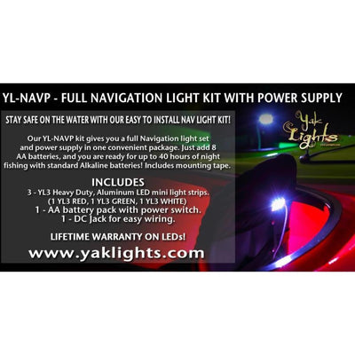 NAVIGATION LIGHT KIT WITH BATTERY BOX - ULTRA LOW PROFILE WATERPROOF LED LIGHTS