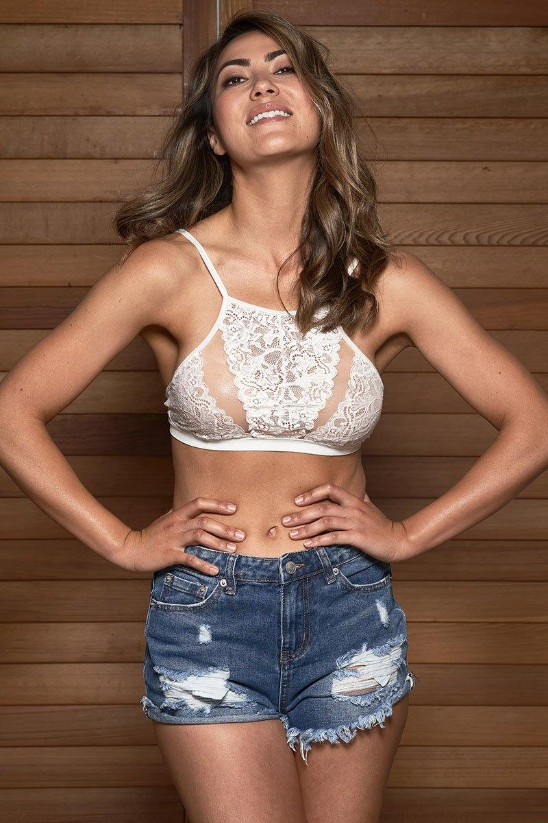 LuminoGlow Festival Croptop with denim shorts