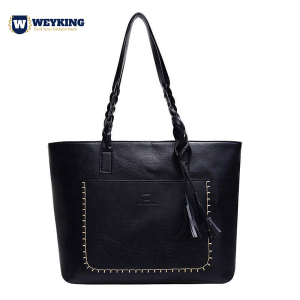 WEYKING 2019 Vintage PU Tassel Women Shoulder Bag Female Retro Daily Causal Totes Lady Elegant Shopping Handbag - Active Noise Cancelling Headphones Bluetooth Headphones with Mic Deep Bass Wireless Headphones Over Ear, Comfortable Cortex Earpads, 20H Playtime for Travel Work TV PC Cellphone