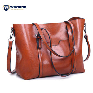 WEYKING Women Bag Oil Wax Women's Leather Handbags Luxury Lady Hand Bags With Purse Pocket Women Tote Big Bag - Active Noise Cancelling Headphones Bluetooth Headphones with Mic Deep Bass Wireless Headphones Over Ear, Comfortable Cortex Earpads, 20H Playtime for Travel Work TV PC Cellphone