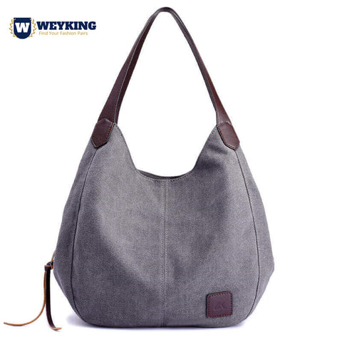 WEYKING Brand 2019 Women's Canvas Handbags High Quality Female Hobos Single Shoulder Bags Vintage Solid Multi-pocket Ladies Totes Bolsas - Active Noise Cancelling Headphones Bluetooth Headphones with Mic Deep Bass Wireless Headphones Over Ear, Comfortable Cortex Earpads, 20H Playtime for Travel Work TV PC Cellphone