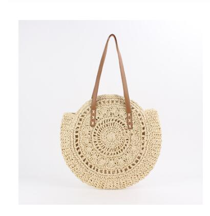 2020 Round Straw Bags Women Summer Rattan Bag Handmade Woven Beach Cross Body Bag